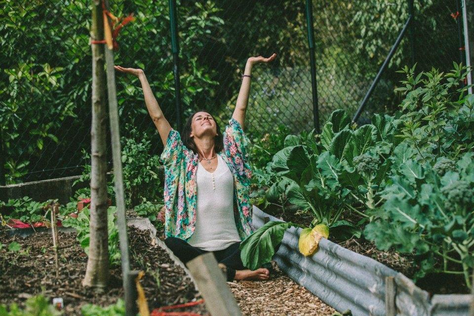 Lorien Waldron in the veggie garden, Ayurvedic medicine